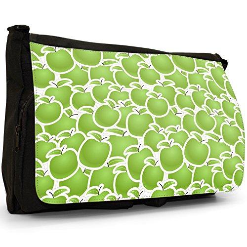 Frutta grande, colore: nero, unisex, in tela, borsa Messenger-Borsa a tracolla, per scuola, Borsa per computer portatile Nero (Green Apple Fruit)
