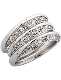 DKNY Damen 3 teiliger Fingerring Edelstahl Silber NJ1853040