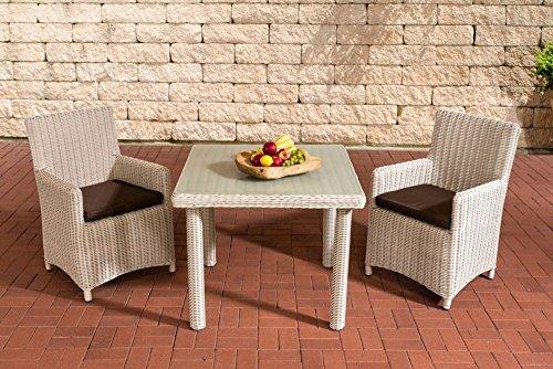 Gartenmöbel, Gartenmöbel-Set, Sitzgruppe Dorado M100, perl-weiß / terra-braun, Polyrattan-Aluminium-Gestell, Gartengarnitur, Sitzgarnitur.