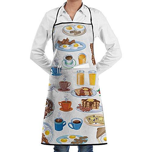 Für Fleisch Kostüm Verkauf - UQ Galaxy Schürze,Schöne Fleisch Eier Kuchen Frühstück Schürze Spitze Erwachsene Chef Einstellbare Lange Voll Schwarz Kochen Küchenschürzen Lätzchen mit Taschen für Restaurant Backen BBQ