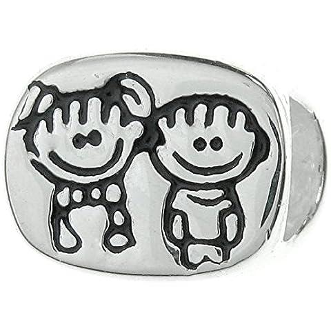 Argento Sterling 925Happy Boygirl fratello e sorella Fratelli con Smile Face Love famiglia perline per braccialetti di design