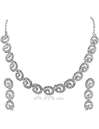 Apara Rhodium Necklace Set With Austrian Diamond For Women