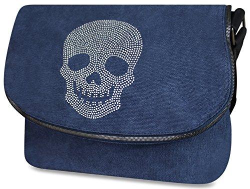 PiriModa Damen Stern Handtasche Schultasche Clutch TOP TREND Tragetasche (Strass Totenkopf Jeansblau)