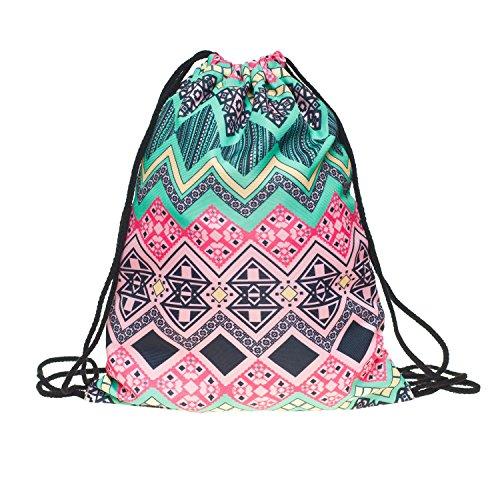 c52d031fa1f84 Beutel Aztec Rosa Aztekenmuster Muster Bag Stringbag Kordel Gym Tasche Tüte  Jutebeutel Turnbeutel Loomiloo BAR