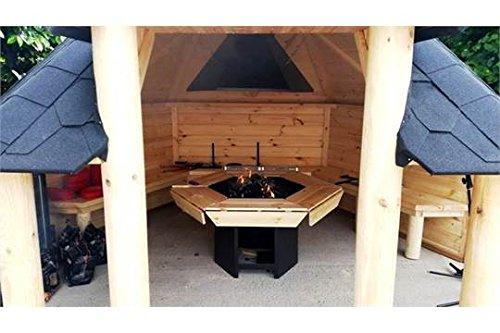 Offenes Gartenhaus aus Holz, BBQ-Grillhütte, 9,2m²–Sommerhütte–Grillhütte–Teakholz–die Hütte kommtmit Bitumen-Fliesen, BBQ-Grill mit Kochenstellen, Tisch rund um den Grill, verstellbarem Kamin & 3innenbänken -