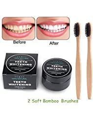 Natural Teeth Whitening Charcoal Powder kit, Natural Activated Charcoal Teeth Whitener Powder with 2 Pack Bamboo Brush (A)