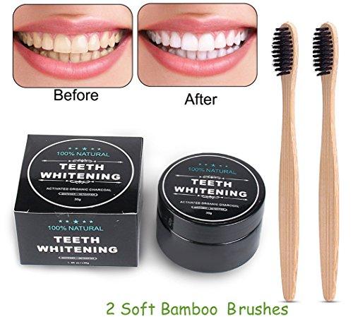 (Zahnaufhellung Aktivkohle pulver,Teeth Whitening Powder,Natürliches Aktivkohle Zahnaufhellung Pulver mit 2 Bambus Zahnbürste (A))