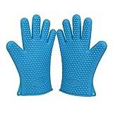 GYOYO 2 Handschuhe Silikon Küche, Ofenhandschuhe Silikon Handschuhe zu grillen Silikon, Silikonhandschuh , Handschuh Grill, Ofenhandschuh , Topflappen -Backen-Ofen-Handschuh Anti-Heat Vier, Grillen, Grillen, Kochen, Washing- Geschirr und Kochwasserdicht Derailed (ein Paar, Blau)