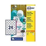 Avery L4851REV Lot de 600 étiquettes rondes auto-adhésives amovibles pour toutes les imprimantes 24 étiquettes par feuille A4