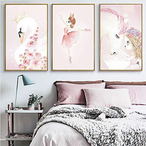 Geiqianjiumai Sueño nórdico Conejo niña de Hadas Pintura de Dibujos Animados Caballo de un Cuerno habitación Infantil jardín de Infantes Pintura al óleo Pintura Decorativa Triple Triple 1 50x70cm