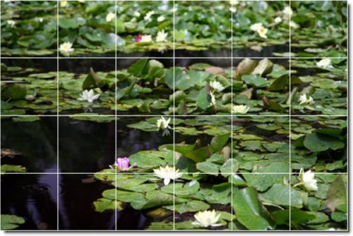 LAGOS RIOS FOTO MURAL AZULEJOS 6  48 X 182 88 CM CON (24) 12 X 12 AZULEJOS DE CERAMICA