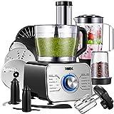 Tibek Küchenmaschine 1100W, 3 Geschwindigkeiten Plus Pulsfunktion (inkl Standmixer, Knethaken, Zitrusspresse und Mühle) Silber/Schwarz