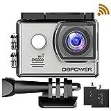 DBPOWER Cámara Action EX5000 WIFI de 2.0 pulgadas 14MP 14MP 1080P FHD Resistente al agua, con 2 baterías y kit de accesorios de montaje gratis plata