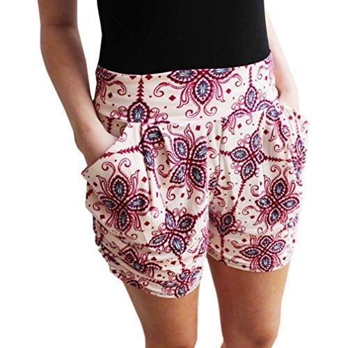 Hosen Damen Kolylong® Frauen Sommer gedruckt hohe Taille kurze Hosen Hot Pants Strand Shorts Sporthosen (S, Beige) (High-waist Floral Pencil-skirt)