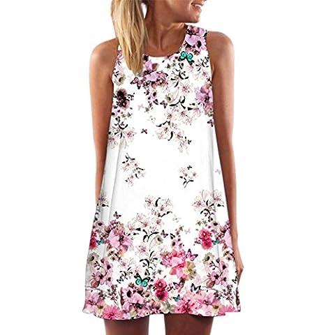 Top Quality LCLrute New Vintage Boho Women Summer Sleeveless Beach Printed Short Mini Dress (B, M)