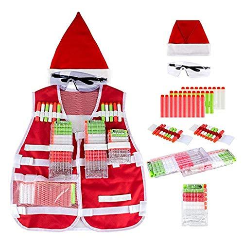 (Aolvo Weihnachten Weste Kit, Weihnachten Innovative Weste Cosplay für Nerf Gun Serie Erwachsene und Kinder Weste Jacke für N-Strike Elite Series)