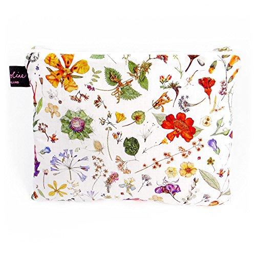 tessuto Liberty trapuntato borsa cosmetici borsa, piatti, misura media Design floreale Eve bianco