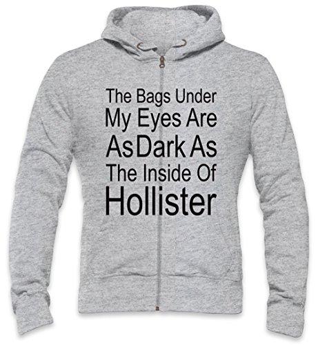 The Bags Under My Eyes Are Dark As The Inside Of Hollister Slogan Mens Zipper Hoodie XX-Large (Tee Hollister Herren)