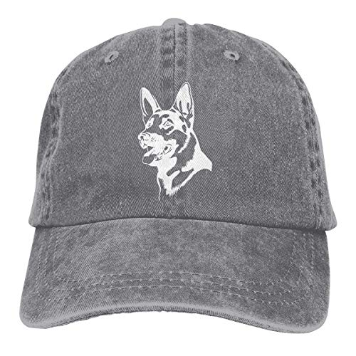 Baseballkappe Sport-Mütze German Shepherd Dog Men's Women's Adjustable Jeans Baseball Hat Denim Fabric Sun Hat Sports Cool Youth Golf Ball Unisex Cowboy hat Fedora Beach Hiking Skull 3D Printing caps