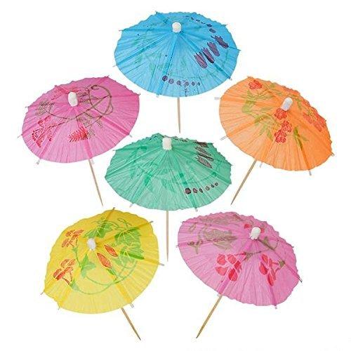 Cocktail-Regenschirme Picks für Getränke, Cocktail-Regenschirme, Hawaii-Party und Pool-Partyzubehör - Papier-Sonnenschirm-Plektren, 144 Stück