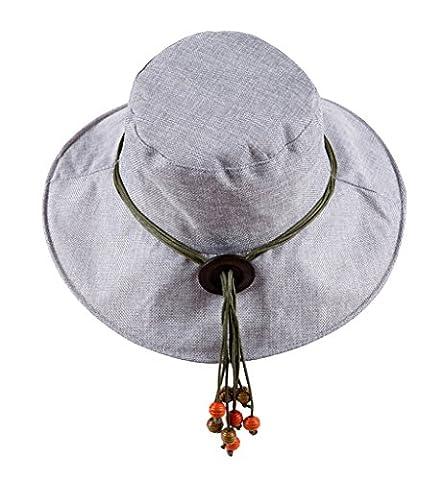 Sumolux Women's Cotton Linen Sun Hat Large Brim Sun Protection Bucket Hat Vintage Leisure Foldable Summer Beach Basin Hat Cap Floppy Hat Breathable Beach Cap Sunbonnet with Elastic Chin