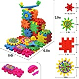 Enlarge toy image: BCMRUN 81 PCS Gear Building Blocks Set Educational Toy Interlocking Learning Blocks Colorful Shapes Puzzle Funny Electric Bricks Motorized Spinning Gears for Children Kids Boys Girls