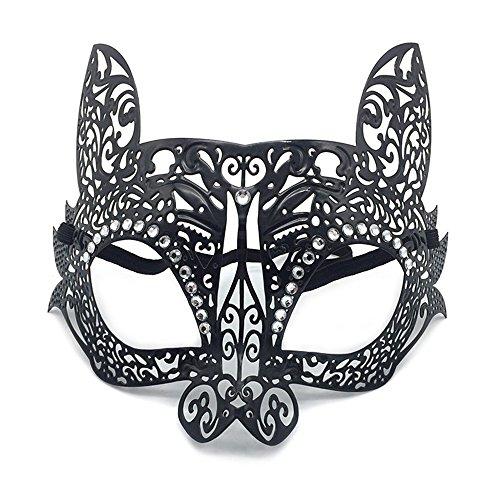 oenix Party Maske Kaninchen Gesicht männlich und Weiblich Halb Gesicht Venedig Metall schmiedeeisen Maske, Schwarz ()