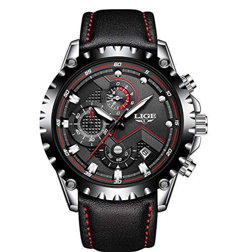 Reloj Analógico de Cuarzo para Hombre LIGE Reloj de Pulsera Correa de Piel Negro Casual Lujo Cronógrafo Deportivo