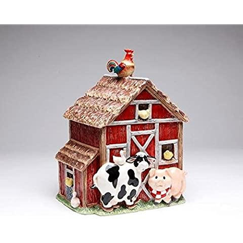 10.38 Inch Red and Brown Barn Cookie Jar with Farm Animals by ATD