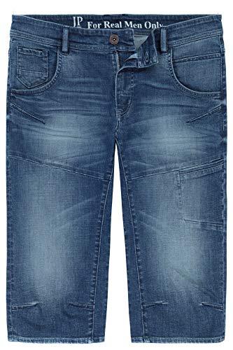 JP 1880 Herren große Größen bis 7XL, 3/4-Jeans-Bermuda, Modisch vorgewaschen, bequem geschnitten, 5-Pocket-Passform, Normale Oberschenkel- und Beinweite, Blue Stone 56 720226 91-56