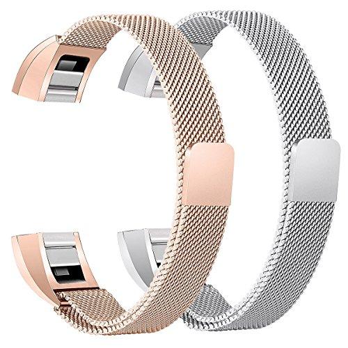 Fitbit Alta HR Armband, BeneStellar Milanese Edelstahl Uhrenarmband Mailänder Magnetschleife Edelstahlband Ersatz Armband Für Fitbit Alta HR und Alta (Silber + Rose Gold)