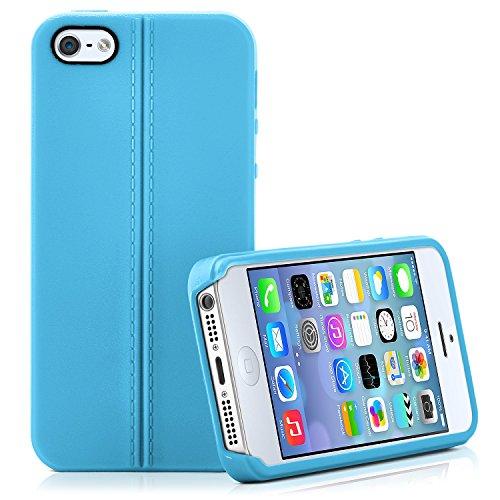 Premium Handy Tasche für iPhone 4 / 4S | Silikon Hülle in eleganter Leder Optik | Handy Schutz Case von OneFlow | Back Cover in Karamell AQUA
