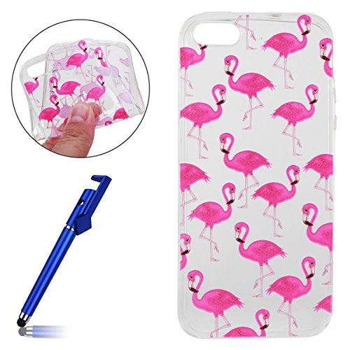 Cover per iPhone 5S, Custodia iphone SE, iphone 5 Custodia Silicone, MoreChioce Moda Funny Cute Fiore Animal Painting Colorato Custodia, Ultra Slim 3d Gel Soft Silicone Gomma Morbido TPU Trasparente C Fenicotteri