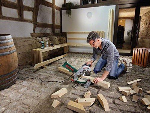 Bosch DIY Kapp- und Gehrungssäge PCM 8, Arbeitsklemme, Kreissägeblatt Optiline Wood, Staubbeutel, Karton (1200 W, Kreissägeblatt Nenn-Ø  216 mm) - 5