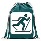 Kiwistar Skilaufen Schilaufen Piktogramme Turnbeutel Fun Rucksack Sport Beutel Gymsack Baumwolle mit Ziehgurt