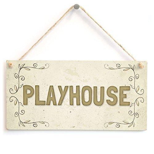 Lustiges Dekoschild Geschenk Playhouse Kid 's Boy Girl Outdoor Tür Holzschild Wandschild Dekoration (Playhouse Boy Outdoor)