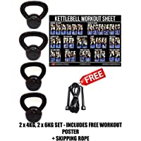 FXR 2 x 4KG, 2 X 6KG KETTLEBELLS STRENGTH TRAINING FITNESS WEIGHTS KETTLEBELL SET