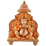 Collectible India Ganesha Murti Temple - GOLD Work White statue of Lord Ganesh Ganpati Elephant Hindu - Marble