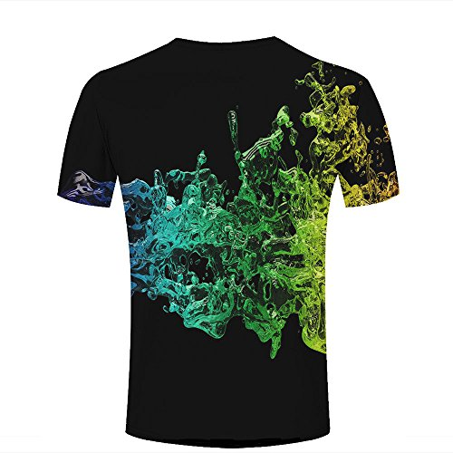 Mens 3D Printed Yellow-Green Gradient Water Waves Graphic Couple T-Shirts B