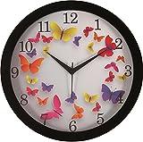 IT2M Round Plastic Wall Clocks (30 cm x 30 cm x 4 cm, Black, JIN34)