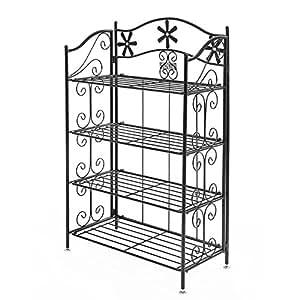 songmics portafiori 4 ripiani decorativa in ferro verniciato fioriere per balcone giardino. Black Bedroom Furniture Sets. Home Design Ideas