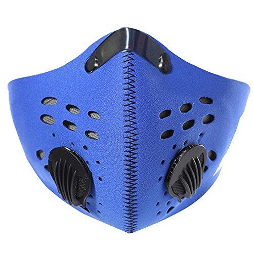 Aktivkohle-Filtration Staubdichte Maske Fahrrad Baumwolle Maske Anti-Verschmutzung PM 2.5 Atemschutz mit Filter Filtration Baumwolle Blech Ventile Abgas Anti-Pollen Allergie für Laufen Radfahren, blau