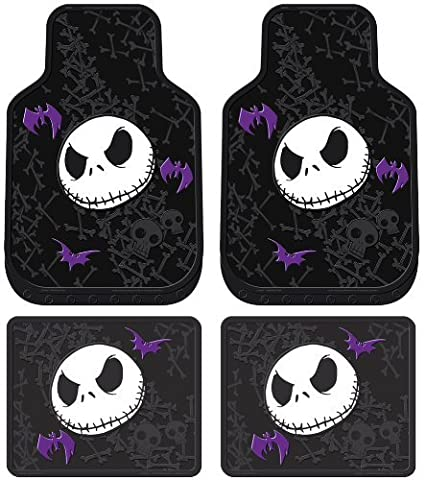 Nightmare Before Christmas Jack Skellington Purple Bats and Cross Bones Tim Burton Disney Front & Rear Car Truck SUV Seat Rubber Floor Mats Set - 4PC by LA Auto Gear