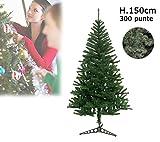 Albero di Natale artificiale 150 cm con 300 punte rami folti PINO DELLE SORPRESE. MEDIA WAVE store