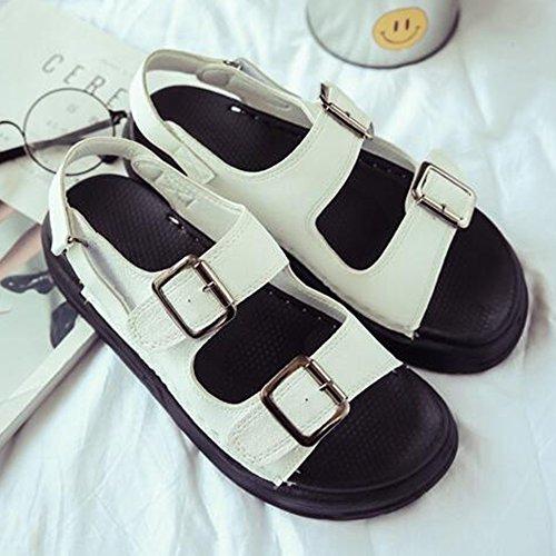 Eastlion Sommer Magie Aufkleber Römische Sandalen Frauen Flache Unterseite Einfache Bequeme Exponierte Zehe Schuhe Weiß