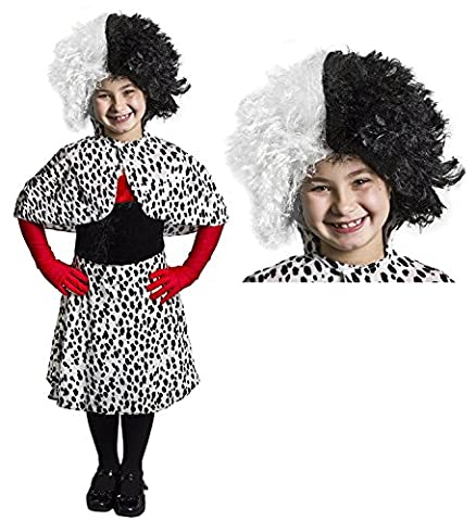 CHILDS DELUXE EVIL DOG LADY COSTUME PERFECT FOR SCHOOL BOOK WEEK AND WORLD BOOK DAY INCLUDES: 4 PIECE RED AND BLACK VELOUR FEEL DRESS WITH DALMATIAN PRINT BOTTOM HALF + DALMATIAN PRINT OVER THE SHOULDER CAPE + PAIR OF ELBOW LENGTH RED GLOVES (MEDIUM)