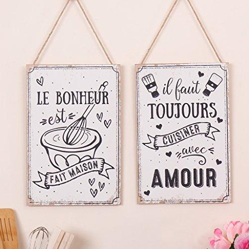 Set von 2Küche Themed Dekorative Wand Schilder, ungewöhnliche Deko Wand Vorlagen mit französischen Text und einem Kochen/Backen Thema in schwarz und weiß–perfekte Geschenk für ein neues Haus, Einzugs, Hochzeit, Jahrestag oder Geschenk für eine Baker–H3020x je