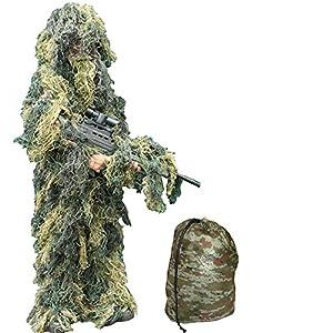 KAS Traje de Camuflaje para niños de 3 a 7 años de Edad - Traje de Francotirador de Camuflaje para niños (S / M 3 - 7 años)