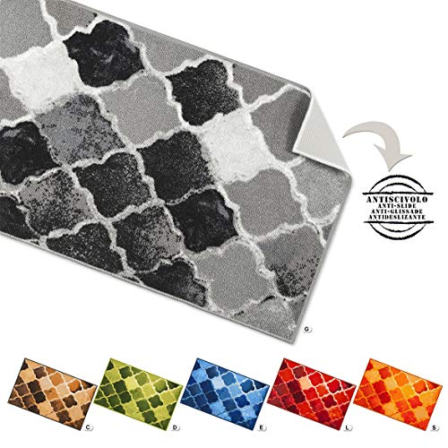 Tappeto cucina piastrelle vintage retro antiscivolo 7 misure passatoia multiuso bagno camera mod.tapiro34 57x280 grigio (g)