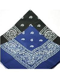 PAISLEY BANDANA scarf duo 1 x BLACK 1 x BLUE